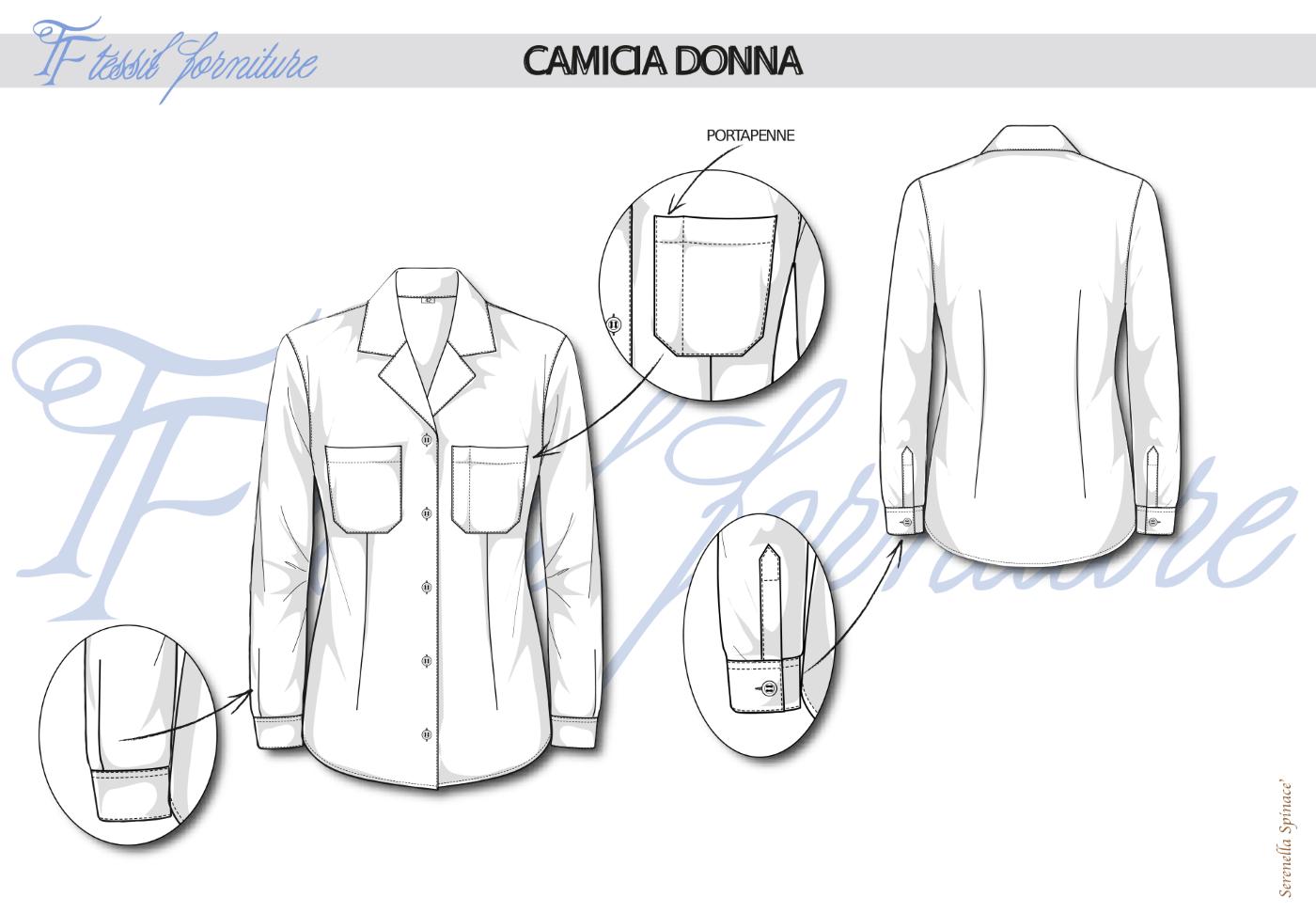 Bozzetto camicia donna - Tessil Forniture
