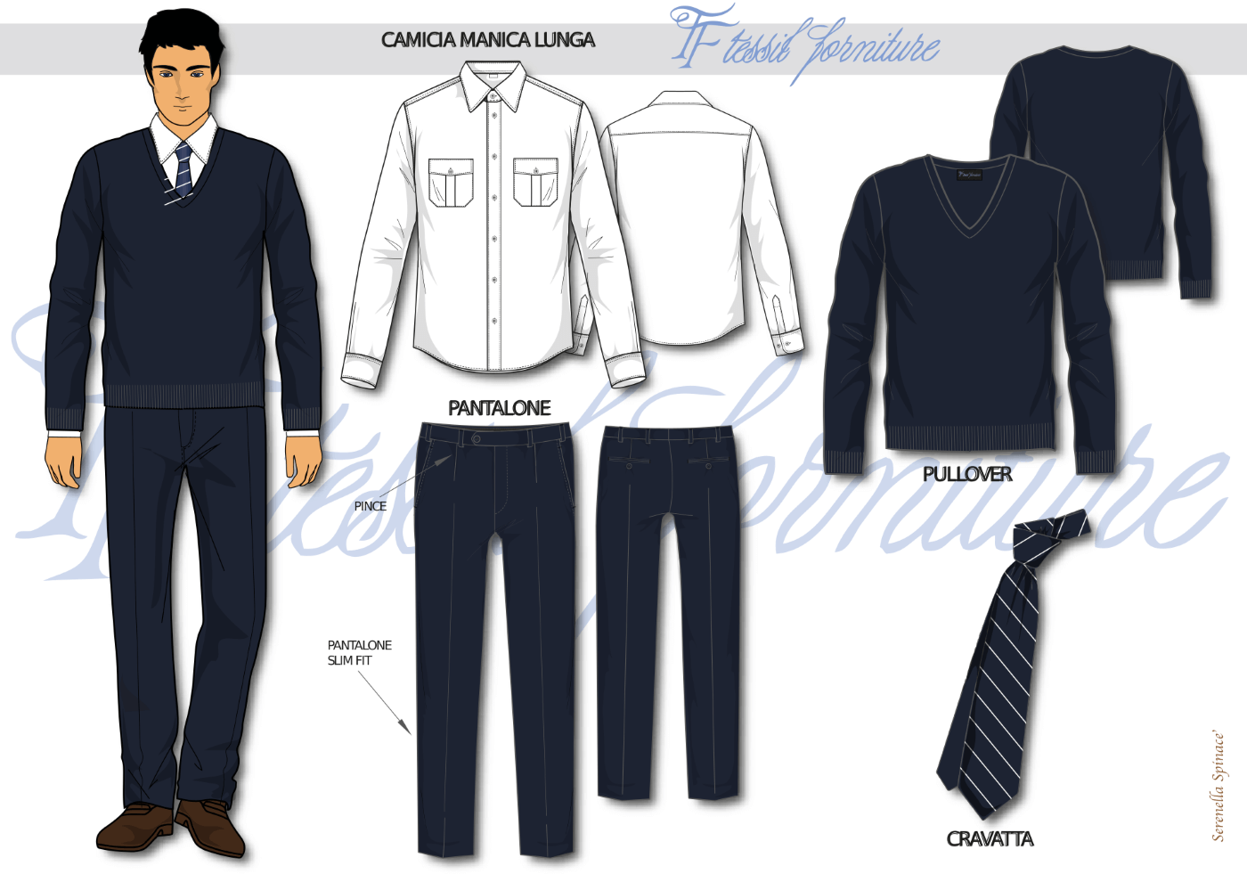Bozzetto camicia uomo - Tessil Forniture