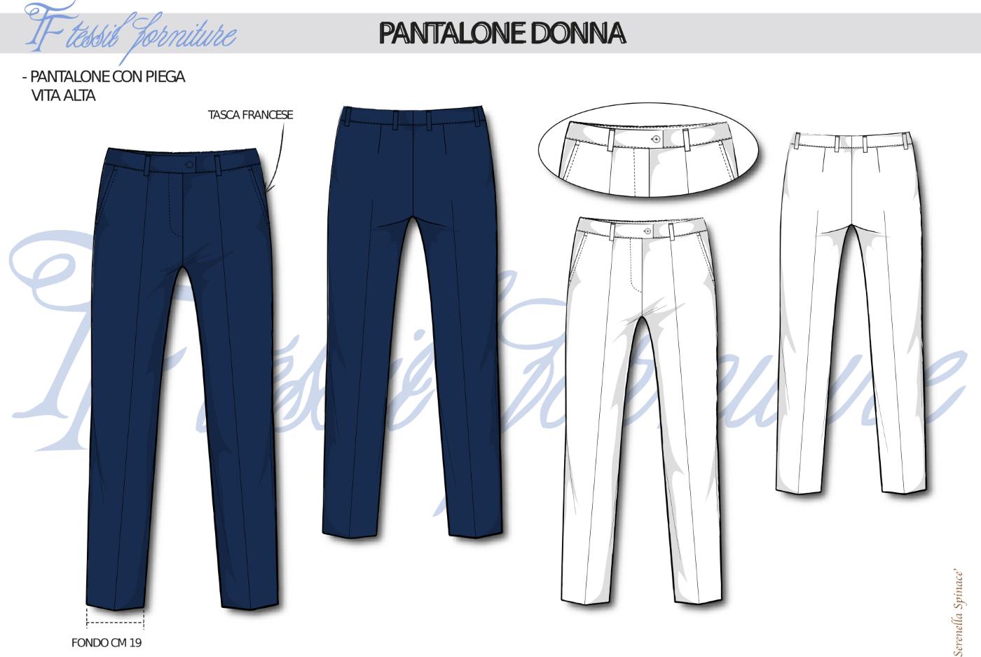 Bozzetto pantalone donna - Tessil Forniture