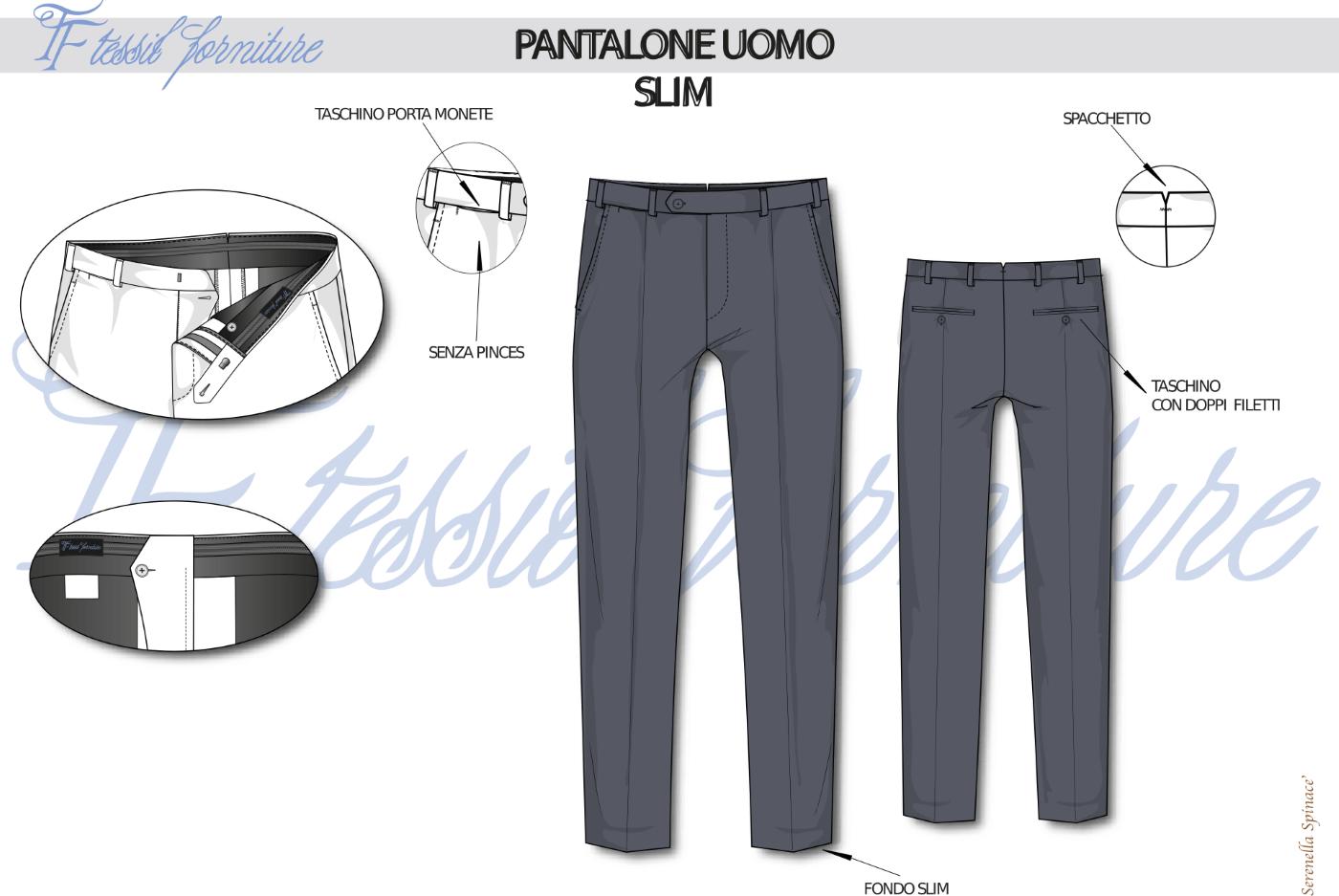 Bozzetto pantalone slim uomo - Tessil Forniture